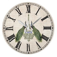 Paris and Peacocks   Beautiful vintage look wall clock featuring a distressed cream background, roman numerals accented with 2 peaco...