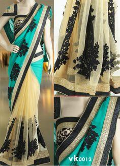 New Turquoise & Beige Georgette & Net #Designer_Saree#beautiful #new_arrival #Latest