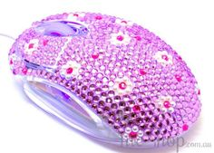 Pretty Cute Purple Crystal USB Optical Computer Mouse for any Notebook, Laptop or Desktop PC. Decorated in Rhinestone.