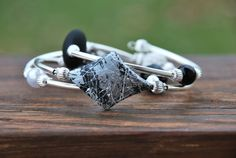 Black White and Gray Memory Wire Bracelet by TheMajesticElephant