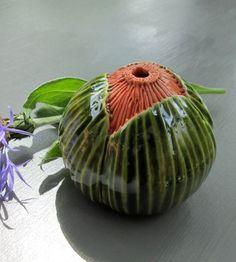 Green and Orange Ceramic Pod Vase. $17.00, via Etsy.