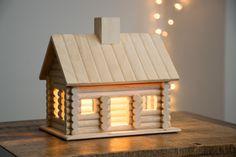 Log Cabin Night Light - Woodland / Wilderness / Nature / Camping Themed Nursery Nightlight - Baby / Kid's Room Lamp by LightingbySara on Etsy