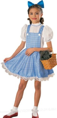 Wizard Of Oz Dorothy Child Costume Wizard Of Oz Dorothy Child Costume Don't Forget Toto!This classic Dorothy costume includes: white and blue checkered dress with bl Wizard Of Oz Dorothy Costume, Dorothy Halloween Costume, Cheap Halloween Costumes, Hallowen Costume, Halloween Ideas, Wizard Oz, Wizard Costume, Family Halloween, Halloween Outfits