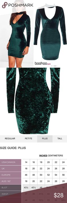"""• boohoo plus™ velvet choker bodycon dress • ________________________ product details: • size: 20 • long-sleeved • little to no stretch • color: forest green  • second picture shows true color and """"velvet"""" look • very flattering; hugging silhouette • machine washable • 95% polyester, 5% elastane Boohoo Plus Dresses Mini"""