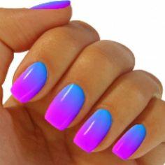 Glowing vibrant blue to purple gradient nail art. nails manicure nailart Love the colors summer fresh recipes ; Blue Ombre Nails, Gradient Nails, Neon Nails, My Nails, Hair And Nails, Acrylic Nails, Ombre Color, Ombre Hair, Pink Nails