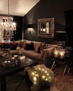 Master moody interior design for the salon. Glam Living Room, Beautiful Living Rooms, Cozy Living Rooms, New Living Room, Apartment Living, Home And Living, Living Room Decor, Bedroom Decor, Design Bedroom