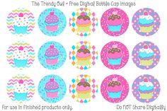 Birthday Cupcakes <3 FREE Digital Bottle Cap Images!! https://www.facebook.com/thetrendyowlUS http://www.thetrendyowl.com