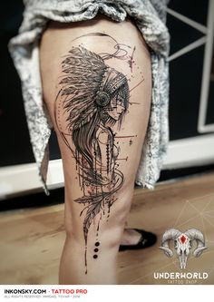 Tatto Indian of America Great Tattoos, Beautiful Tattoos, Leg Tattoos, Body Art Tattoos, Girl Tattoos, Sleeve Tattoos, Tatoos, Tattoo Sketches, Tattoo Drawings