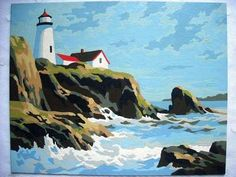 VINTAGE PAINT BY NUMBER PAINTING LIGHTHOUSE ROCKY OCEAN CLIFF SEA NAUTICAL DECOR | eBay
