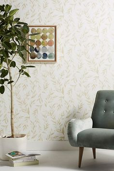 Magnolia Home Olive Branch Wallpaper by in Assorted, Wall Decor at Anthropologie Toile Wallpaper, Unique Wallpaper, Wallpaper Decor, Kitchen Wallpaper, Nature Wallpaper, Joanna Gaines Rugs, Temporary Wallpaper, Wall Decor, Room Decor
