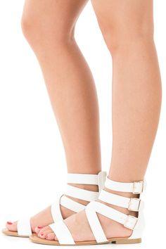 Lime Lush Boutique - White Ankle Strap Gladiator Sandals, $14.95 (https://www.limelush.com/white-ankle-strap-gladiator-sandals/)