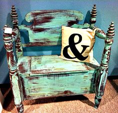 CeCe Caldwell's Santa Fe Turquoise and Dark Aging Wax.  No Sanding, No Priming, and ALL GREEN No VOC Paint!  Amazing!