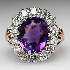 Vintage amethyst & diamond halo cocktail ring 14K gold by Ayuna