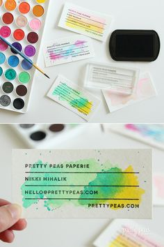 We are SOOOO EXCITED about these hand-stamped watercolor business cards! For more info, head over to our sister site :: Akula Kreative!