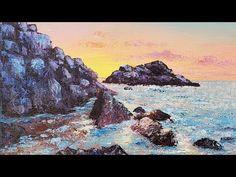 Beginner Palette Knife Beach Rocks Acrylic Painting LIVE Tutorial