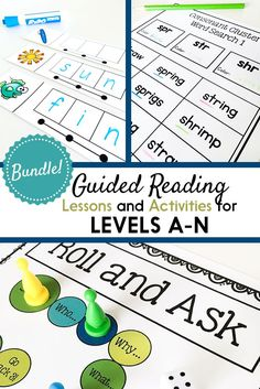Guided reading lessons and books for levels A-N, comprehension and writing resources, phonological awareness activities, phonics games, decoding strategy visuals, lesson plan templates, assessment resources, and more! Perfect for Kindergarten, first grade, or second grade guided reading groups (or low third grade). $