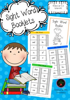 Take-home Sight Word Booklets for Years K-6. Package includes 500 sight words displayed in 7 different 'sets' of words. Instructions for teachers and parents are included. …