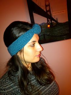 Turquoise woolen headband and bow tie