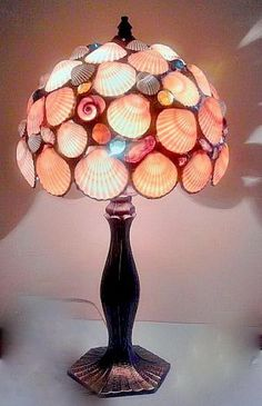 Seashell Lamp, Cool Seashell Project Ideas, http://hative.com/cool-seashell-project-ideas/,