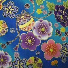 【和柄 生地 布地】。和風花柄  着物風花物語  紫  【和柄 生地 布地】