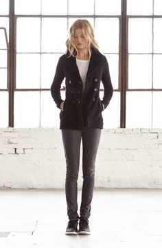 James Perse Short Fleece Peacoat in Black