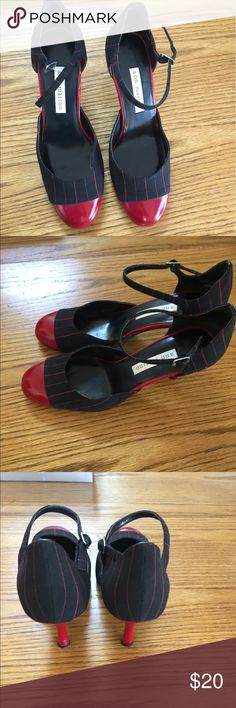 Black and red striped Pumps Black and red striped Pumps with red patent leather cap toes. Size 6.5. Ann Marino Shoes Heels