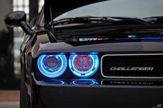 Dodge Challenger, decent car, mainly just enthralled by the headlights of this particular example.