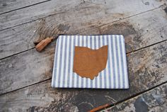 Upcycled Leather Striped Ohio Mini Clutch by aperfectmessvintage