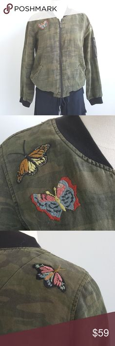 NWT Sanctuary Linen Military Print Bomber Jacket NWT Sanctuary Linen Military Print Bomber Jacket,  lightweight como print bomber with embroidered butterfly,  slide pockets, unlined, pocket on the sleeve, trendy, perfect for any outfits. Zip closure, Sanctuary Jackets & Coats