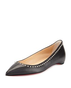 X2SP5 Christian Louboutin Anjalina Studded Red Sole Flat, Black
