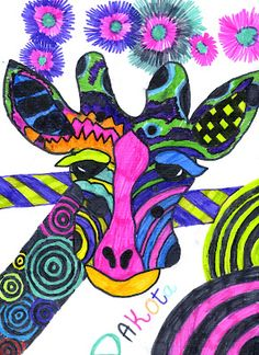Spittin Toad: Kids Art: Giraffes (With Some Very Unique Markings)