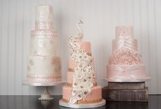 Wedding Trio-Vintage pink cakes from J'Adore Cakes Co.