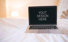 Macbook Pro On Bed Mockup
