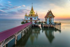 Wat Hong Thong in the gulf of Thailand suspended out over the Sea