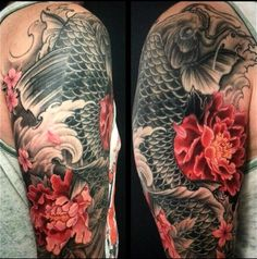 Chronic Ink Tattoo - Toronto Tattoo In progress a koi fish and peony sleeve by Winson #cultural #tattoo #tattoos