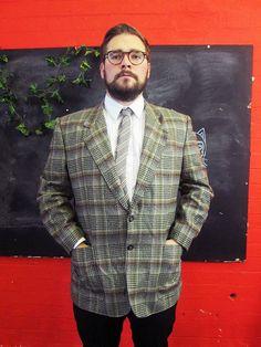 Vintage 1970s Grey Brown Tweed CHECK HOUNDSTOOTH Blazer Jacket Medium/Large
