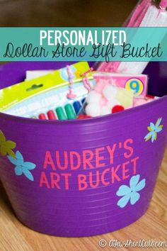 Such a fun gift to give and to make. Check out these simple Personalized Dollar Store Gift Buckets for any occasion. Great project if you or someone you know has a vinyl cutter.