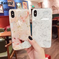 Buy Kerzzil Gold Foil Bling Marble Phone Cases For iPhone X 10 Hole Soft TPU Case Cover For iPhone 7 8 6 6s Plus Glitter Back