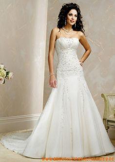 Klassisches Brautkleid aus Taft A-Linie mit Kristall