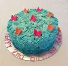 Swirl roses and butterflies cake