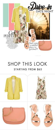 """""""My Flower Lady"""" by alwaysroyal on Polyvore featuring Whiteley, River Island, VILA, Michael Kors, Ancient Greek Sandals, DateNight, drivein and summerdate"""