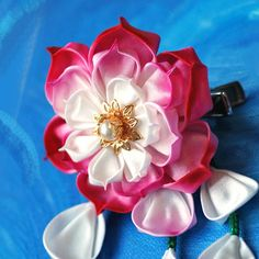 Pink Water Lily (Lotus) Comb or Clip. Hopeful Moon. Tsumami Kanzashi. (Made to order)