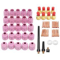 58Pcs TIG Weld Welding Torch Accessory Kit Gas Lens Setup 040~1/8 9/20/25 TAK47