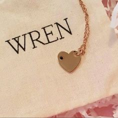 """Wren Studio Gold Heart Necklace Brabd New in packaging - Wren Studio Necklace with Heart Charm in 14k yellow gold dipped with 1 pt black sapphire stone - 18"""" necklace with 2"""" extender Wren Studio Jewelry Necklaces"""