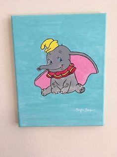 Items similar to Dumbo inspired acrylic canvas painting on Etsy Disney Canvas Paintings, Disney Canvas Art, Mini Canvas Art, Easy Canvas Painting, Acrylic Canvas, Disney Art, Baby Painting, Painting Art, Nursery Art