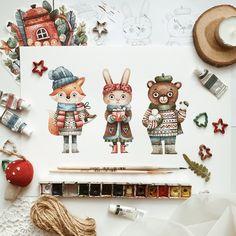 Winter watercolor art for kids food coloring 46 ideas Watercolor Illustration Children, Children's Book Illustration, Watercolor Paintings, Watercolor Ideas, Book Illustrations, Christmas Drawing, Christmas Art, Painting For Kids, Art For Kids