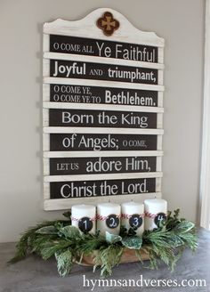 Hymns and Verses: 2014 Christmas Home Tour - adore this menu or announcement styled sign idea!