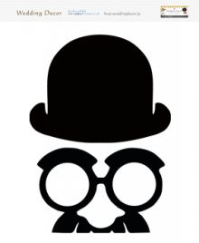 フォトプロップス帽子メガネひげ絵イラスト