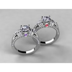 Diamond Engagement Ring For Round or Princess Diamond With Color Accent