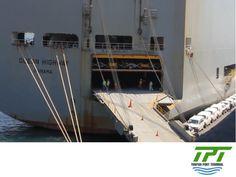 TUXPAN PORT TERMINAL. Estamos preparados para recibir diferentes tipos de buques; como los conocidos RoRo, que son embarcaciones exclusivas para el transporte de carga rodante como camiones, autos y otros tipos de maquinaria. Para brindar un servicio impecable, delimitamos un área especial dentro del patio para el almacenamiento de este tipo de carga. #lamejorterminalportuariademexico